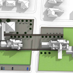 Masterplan: view of campus (Drumley House end)